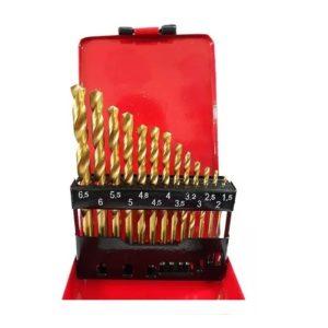 Jogo de Brocas Aço Rápido Titânio com 13 Peças 1,5 a 6,5mm MTX